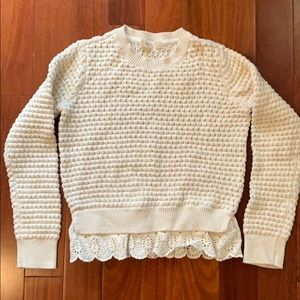 Girls creme sweater with eyelet trim - holiday!